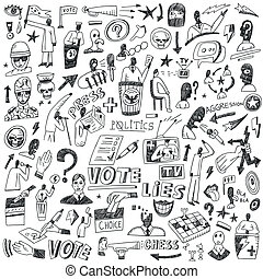 política, -, doodles, conjunto