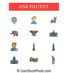 política eeuu, ilustración, línea fina, iconos, lineal, plano, señales, vector, símbolos, contorno, pictograms, conjunto, editable, golpes