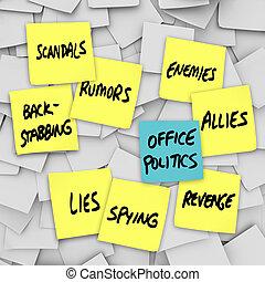 política escritório, escândalo, rumores, mentiras, fofoca, -, notas pegajosas