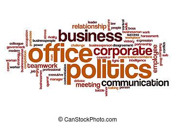 política escritório, palavra, nuvem, conceito