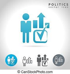 política, icono, conjunto