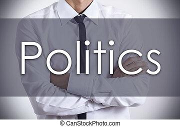 política, -, joven, hombre de negocios, con, texto, -, concepto de la corporación mercantil