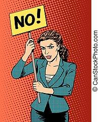 política, mujer de negocios, protesta, cartel, no