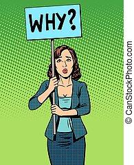 política, mujer de negocios, protesta, por qué, cartel
