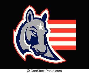 política norteamericano, concepto, ilustración, de, un, burro