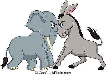 política norteamericano, -, democrático, burro, contra, republicano, elefante