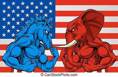 política, norteamericano, elección, concepto, burro, contra, elefante