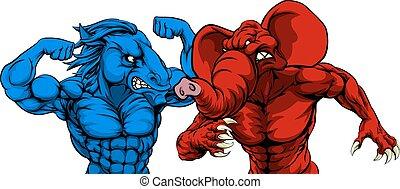 política norteamericano, republicano, demócrata, animales