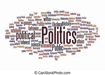 política, nube, texto