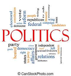 política, palabra, nube, concepto