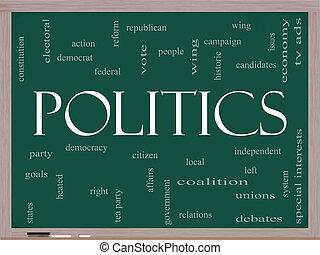 política, palabra, nube, concepto, en, un, pizarra