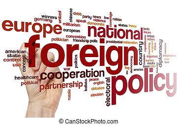 política, palavra, nuvem, estrangeiro