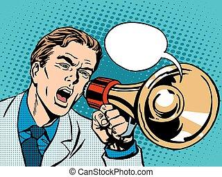 política, promoção, megafone, homem
