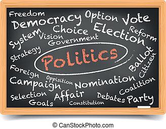 política, quadro-negro