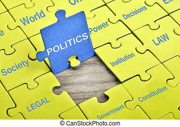 política, quebra-cabeça, palavra