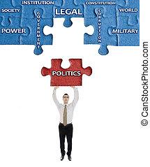 política, rompecabezas, hombre, palabra, manos