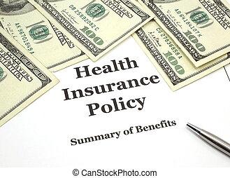 política, seguro saúde, dinheiro