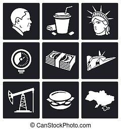 política, vector, conjunto, estados unidos de américa, ...