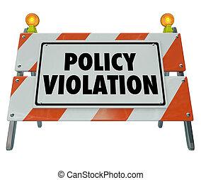 política, violação, aviso, sinal perigo, non, conformidade,...