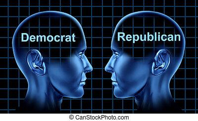 políticas american, com, democrata, e, republicano, pessoas