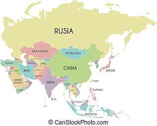 político, asia, mapa, vector, ilustración, aislado, blanco, plano de fondo, con, país, nombres, en, spanish., editable, y, claramente, rotulado, layers.