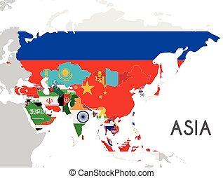 político, asia, mapa, vector, ilustración, con, el, banderas, de, todos, asiático, countries., editable, y, claramente, rotulado, layers.