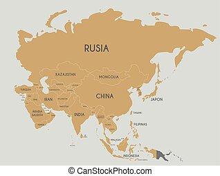 político, asia, mapa, vector, ilustración, con, país, nombres, en, spanish., editable, y, claramente, rotulado, layers.