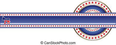 político, bandeira, democrata, etiqueta
