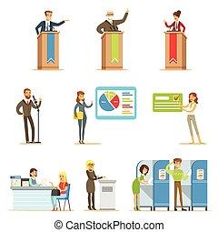 político, candidatos, y, votación, proceso, serie, de, democrático, elecciones, themed, ilustraciones