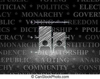 político, concept:, elección, en, grunge, cuarto oscuro