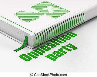 político, concept:, livro, protesto, oposição, partido, branco, fundo
