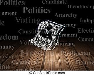 político, concept:, papeleta, en, grunge, cuarto oscuro
