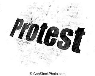 político, concept:, protesto, ligado, experiência digital
