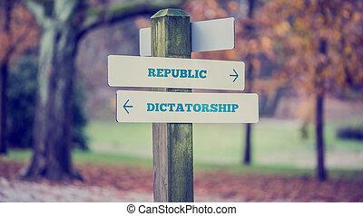 político, concepto, -, dictatorship, república