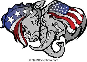 político, elefante, e, burro, carto