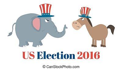 político, elefante, vs, burro
