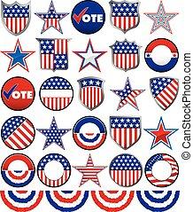 político, emblemas