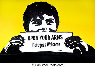 """político, grafiti, lema, welcome"""", """"refugees"""