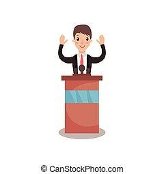 político, hombre, carácter, el estar parado detrás, tribuna, con, levantar, manos, y, dar, un, discurso, orador público, político, debates, vector, ilustración