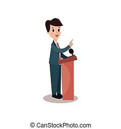 político, hombre, carácter, el estar parado detrás, tribuna, y, dar, un, discurso, orador público, político, debates, vista lateral, vector, ilustración