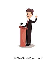político, hombre, carácter, el estar parado detrás, tribuna, y, dar, un, discurso, orador público, político, debates, vector, ilustración