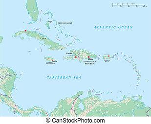 político, ilhas, caraíbas, mapa