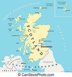 político, independiente, escocia, mapa