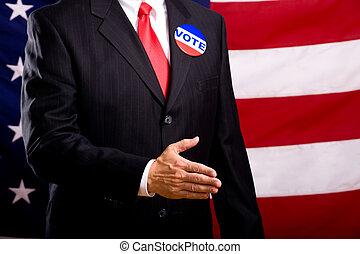 político, mãos sacudindo