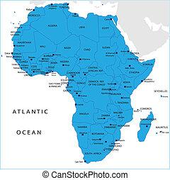 político, mapa, de, áfrica