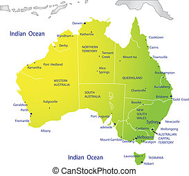 político, mapa, de, austrália