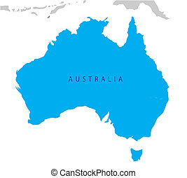 político, mapa, de, australia