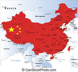 político, mapa, de, china