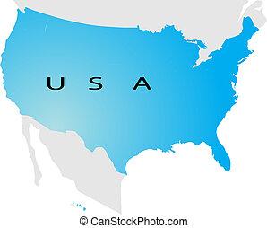 político, mapa, de, estados unidos de américa
