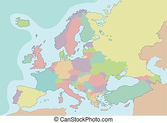político, mapa, de, europa, com, diferente, cores, para, cada, country., vetorial, illustration.